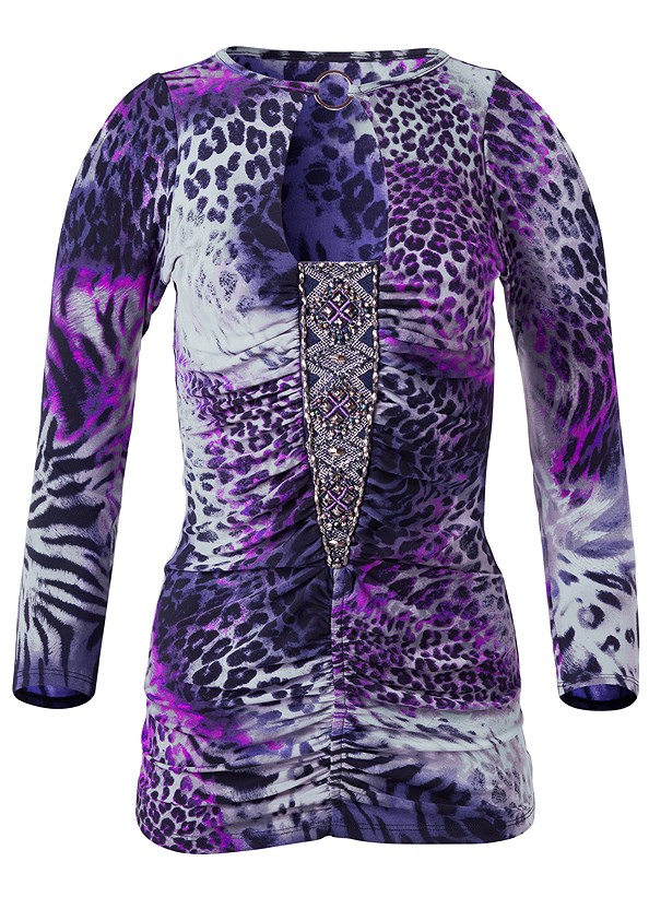 Animal Print Top,Mid Rise Slimming Stretch Jeggings,Buckle Detail Booties