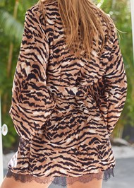 Detail back view Tiger Print Robe With Lace