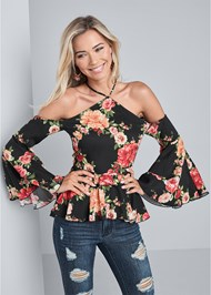 Cropped front view Floral Bell Sleeve Top