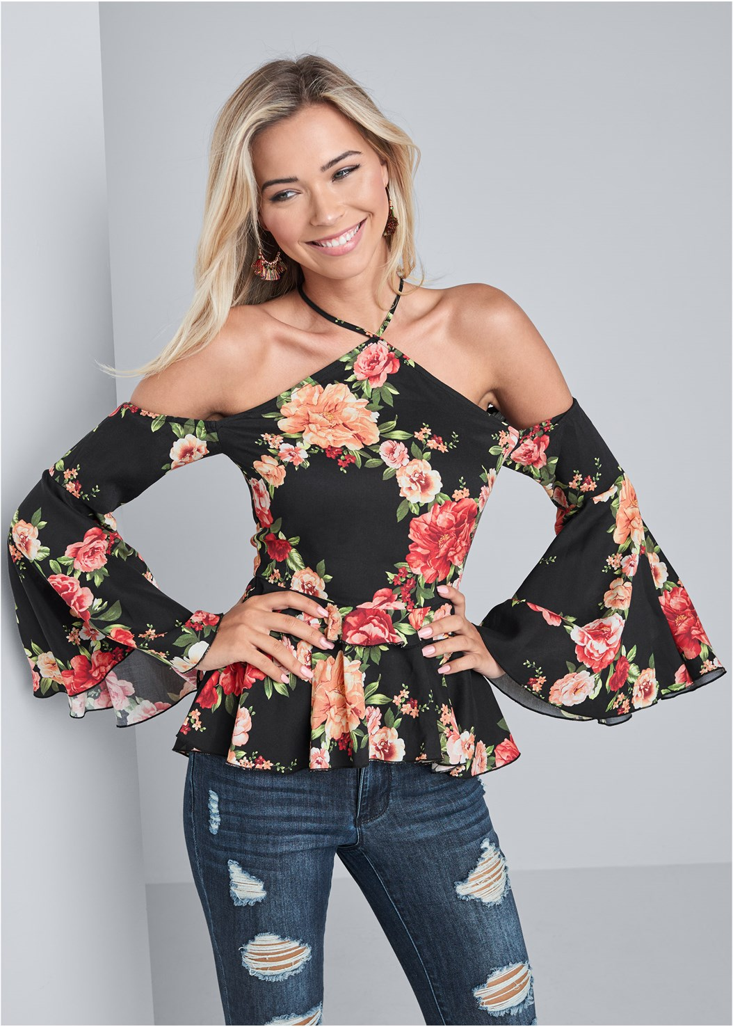 Floral Bell Sleeve Top,Ripped Bum Lifter Jeans,Fringe Handbag