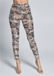 Cropped Front View Sequin Camo Leggings
