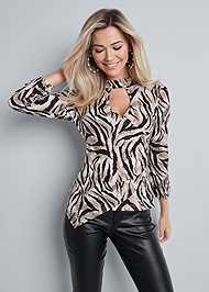 Cropped front view Tiger Print Surplice Top