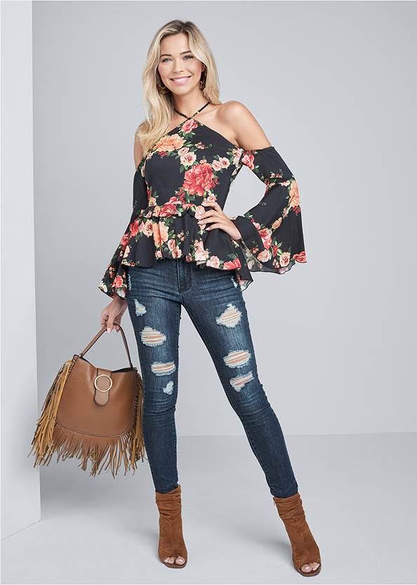 Full Front View Floral Bell Sleeve Top
