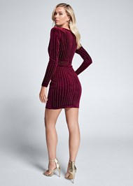 Full back view Embellished Velvet Dress