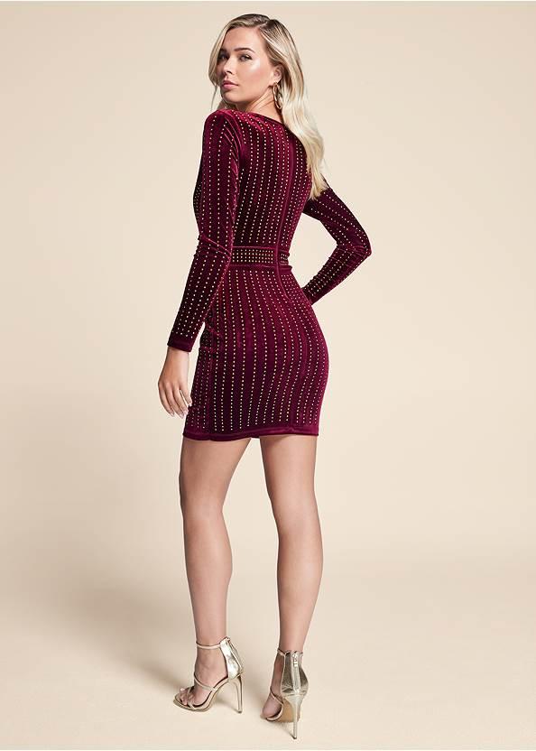 Full back view Embellished Velvet Dress