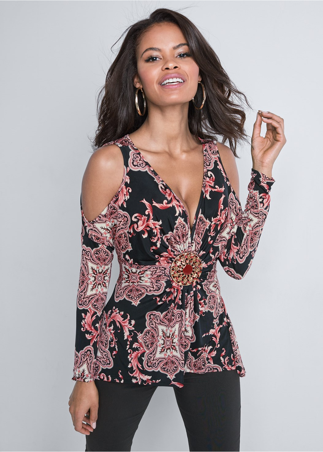 Paisley Cold Shoulder Top,Mid Rise Slimming Stretch Jeggings,Cupid U Plunge Bra,Ankle Strap Heels,Twist Hoop Earring
