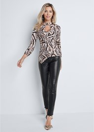 Full front view Tiger Print Surplice Top
