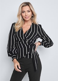 Front View Striped Wrap Top