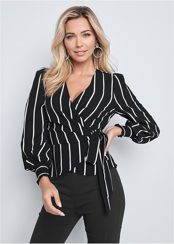 Striped Wrap Top,Mid Rise Slimming Stretch Jeggings,High Heel Strappy Sandals
