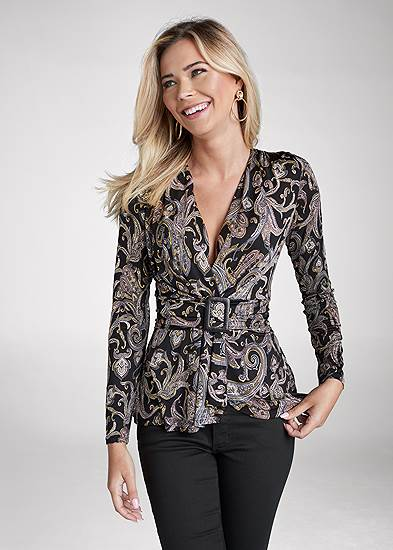 Paisley Print Belted Top