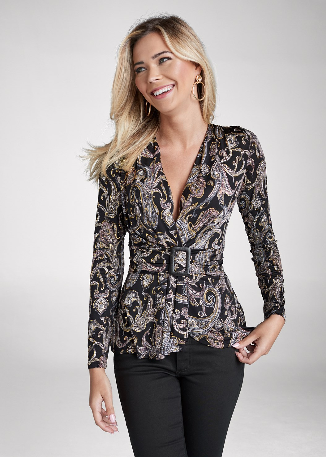 Paisley Print Belted Top,Mid Rise Color Skinny Jeans,Kissable Convertible Bra