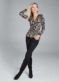 Full front view Paisley Print Belted Top