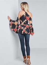 Full back view Floral Bell Sleeve Top