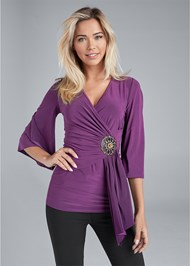 Cropped front view Embellished Surplice Top