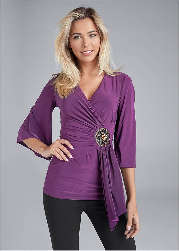 Embellished Surplice Top,Mid Rise Slimming Stretch Jeggings