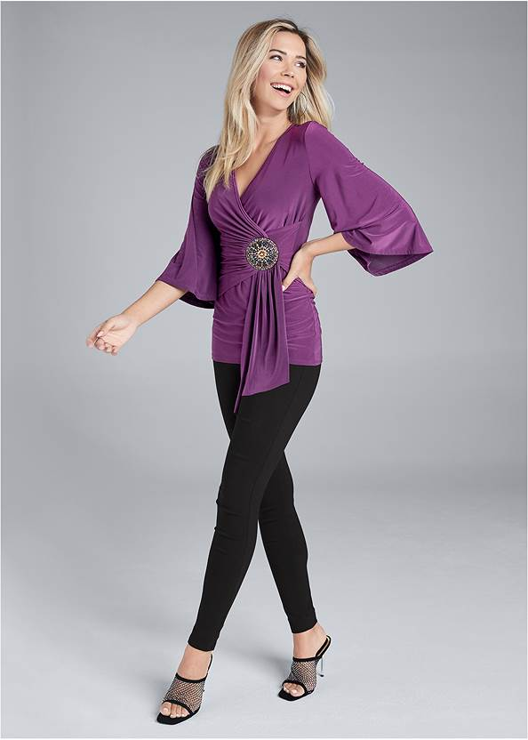 Full front view Embellished Surplice Top