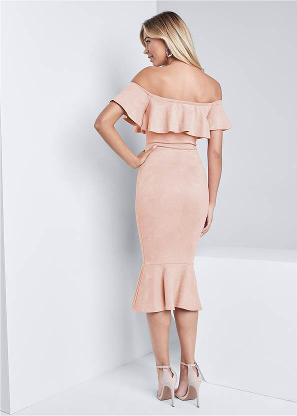 Full back view Faux Suede Ruffle Dress