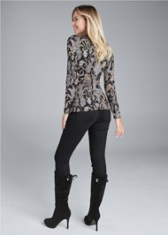 Full back view Paisley Print Belted Top