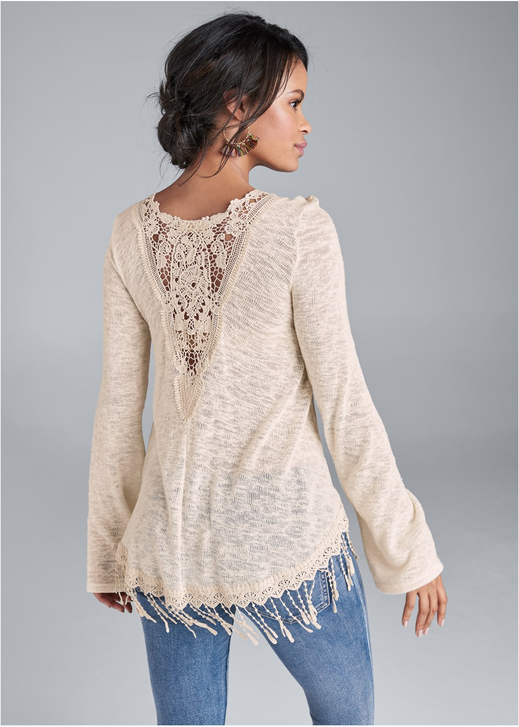 Fringe Casual Top,Mid Rise Color Skinny Jeans,Strapless Bra With Geo Lace,Lace Up Tall Boots,Ankle Strap Heels,Tassel Hoops