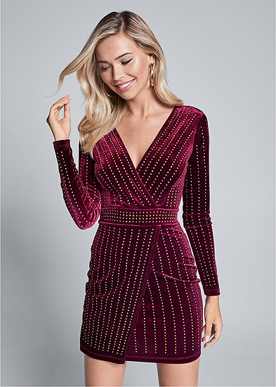 embellished velvet dress