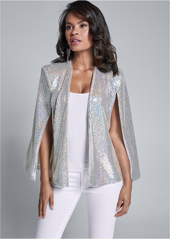 Sequin Cape,Mid Rise Color Skinny Jeans,High Heel Strappy Sandals,Hoop Detail Earrings