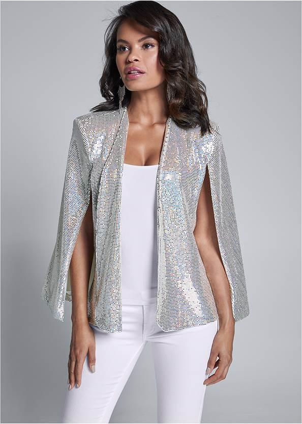 Sequin Cape,Mid Rise Color Skinny Jeans,Hoop Detail Earrings