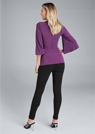 Full back view Embellished Surplice Top