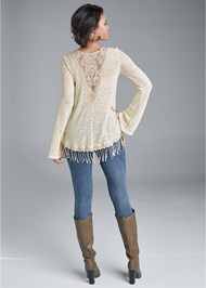 Full back view Fringe Casual Top