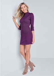 Full Front View Mock Neck Ribbed Dress