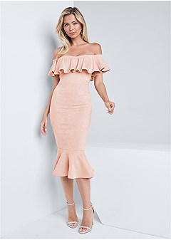 faux suede ruffle dress