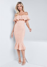 Full front view Faux Suede Ruffle Dress