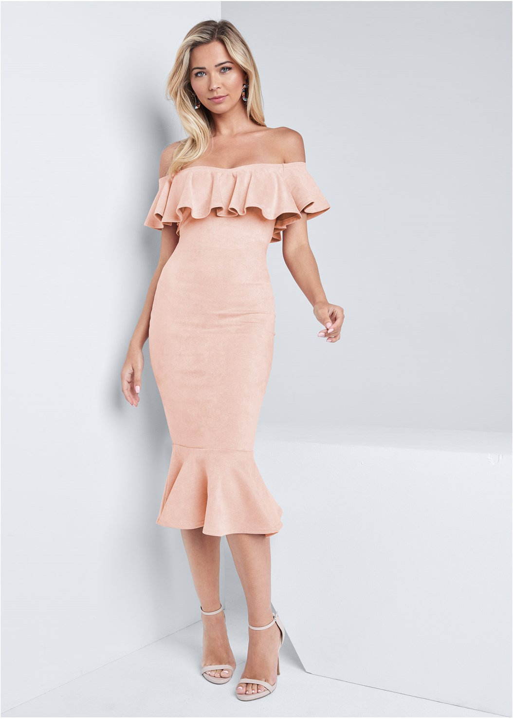 Faux Suede Ruffle Dress,Silicone Backless Lace Bra,Ankle Strap Heels