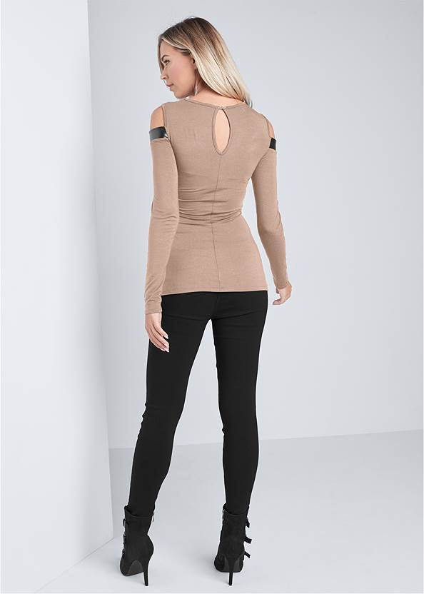 Full back view Faux Leather Detail Top