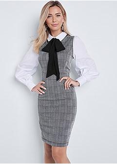 neck tie plaid dress