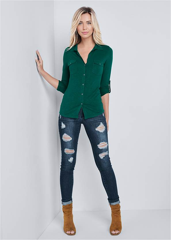 Full Front View Pocket Button Up Top