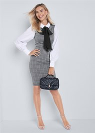 Full front view Neck Tie Plaid Dress