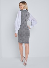 Full back view Neck Tie Plaid Dress