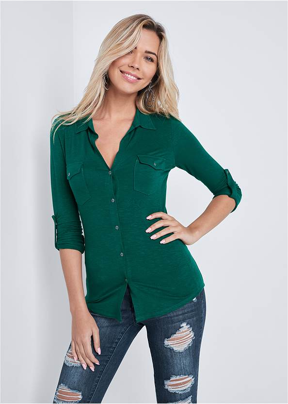Pocket Button Up Top,Ripped Skinny Jeans,Mid Rise Color Skinny Jeans