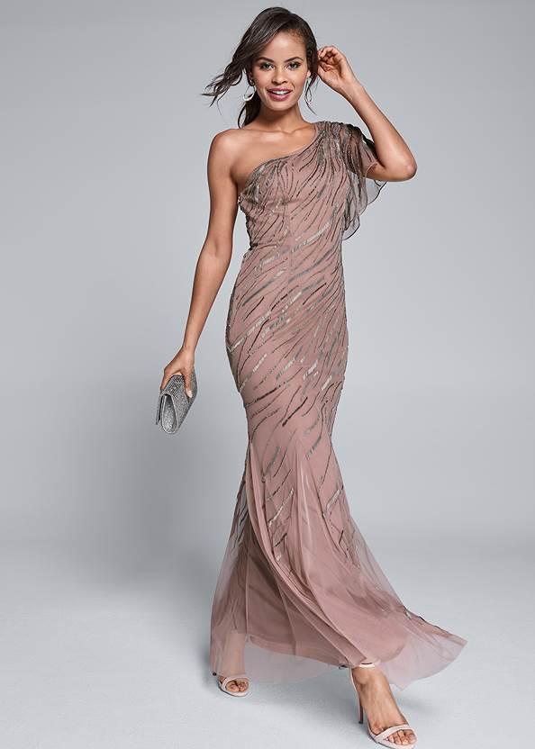 Sequin Detail Gown,Ankle Strap Heels,Rhinestone Clutch