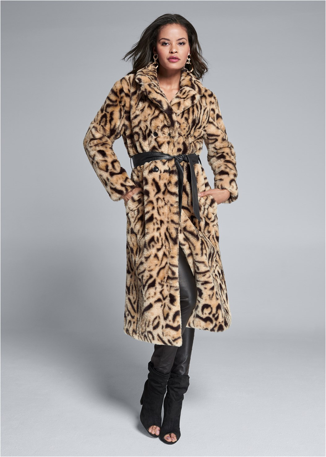 Animal Print Faux Fur Coat,Basic Cami Two Pack,Lace Cami,Faux Leather Pants,Strapless Bra With Geo Lace