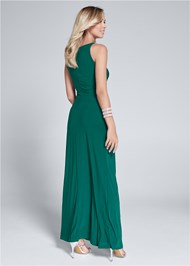 Full back view Embellished Trim Long Dress