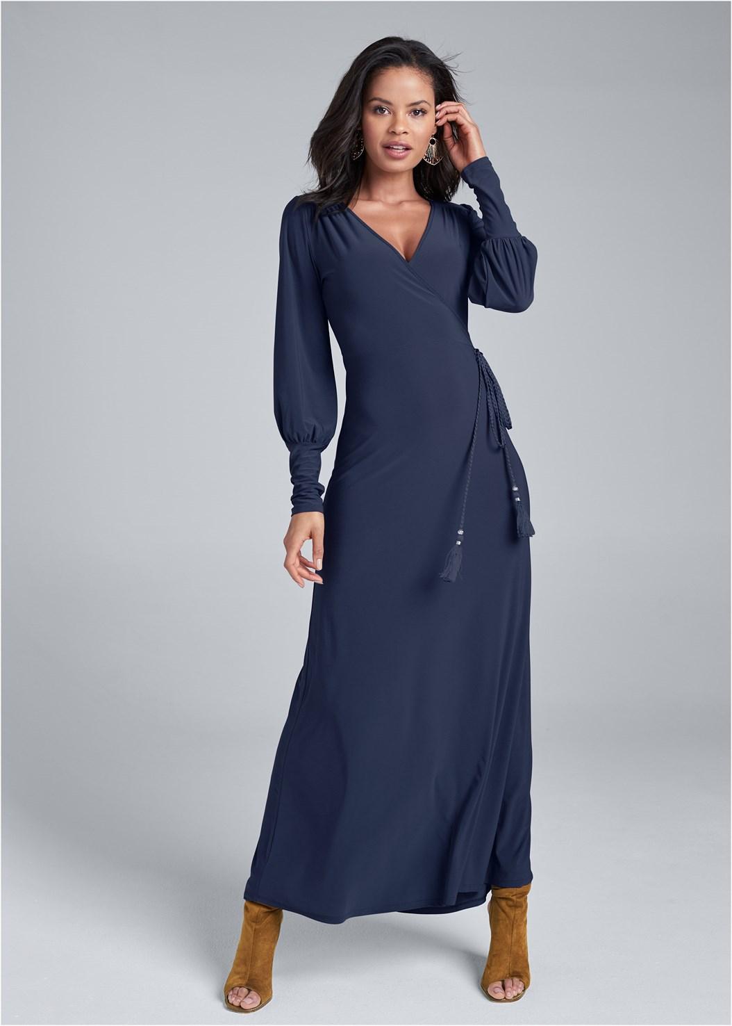 Tassel Detail Long Dress,Seamless Unlined Bra,Beaded Leaf Shape Earrings