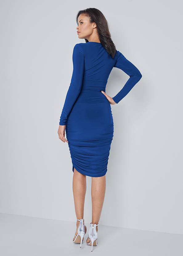 Back View Crystal Trim Ruched Dress