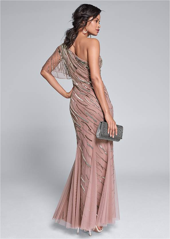 Full back view Sequin Detail Gown