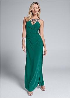embellished trim long dress