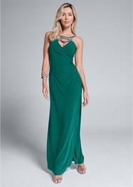 Full front view Embellished Trim Long Dress