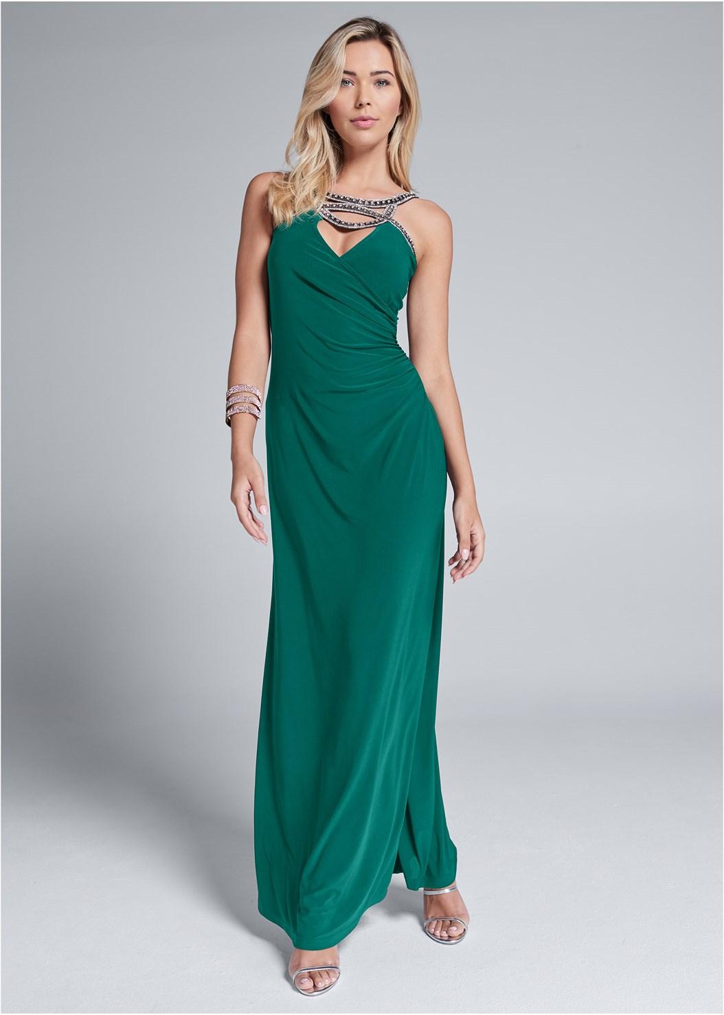 Embellished Trim Long Dress,High Heel Strappy Sandals