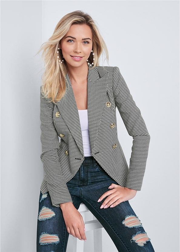 Houndstooth Double Breasted Blazer,Basic Cami Two Pack,Lace Cami,Ripped Bum Lifter Jeans,Kissable Convertible Bra,Buckle Detail Booties,Pearl Hoop Earring Set