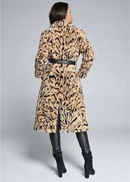 Full back view Animal Print Faux Fur Coat