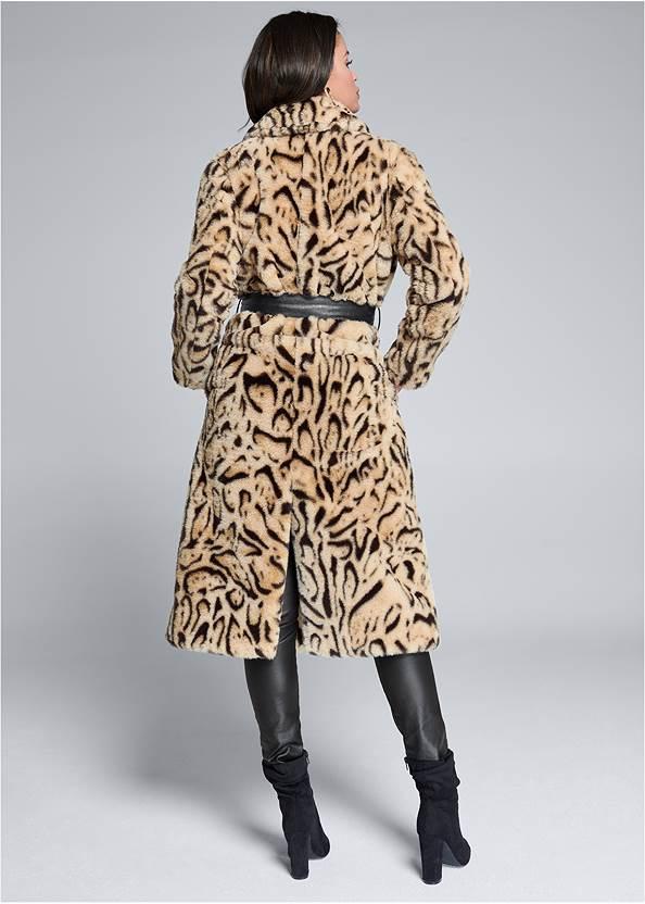 Full back view Animal Print Faux Fur Coat